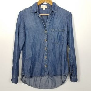Cloth & Stone Blue Chambray Button Down Shirt XS